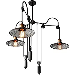 SUSUO Lignting Country Style Pulley Ceiling Pendent Light Adjustable 3-Heads Retro Wire Industrial Chandeliers Retractable Hanging Lighting