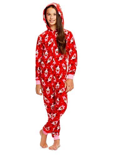 Girls Reindeer Print Pajamas | Plush Zippered Kids Onesie Blanket Sleeper - XS -
