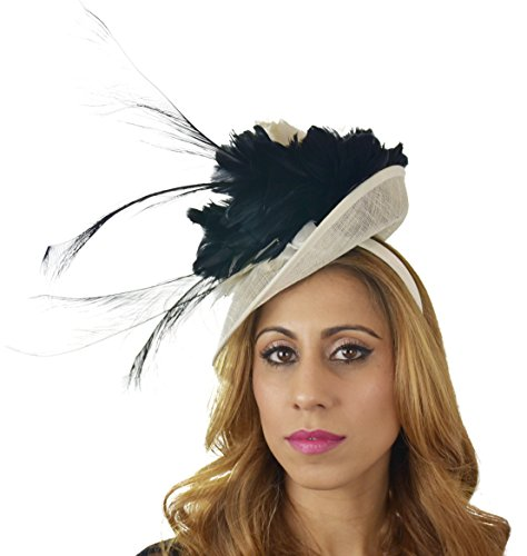 Hats By Cressida Ladies Kentucky Derby Ascot Wedding Fascinator Hat Feather Flower Black & Cream by Hats By Cressida