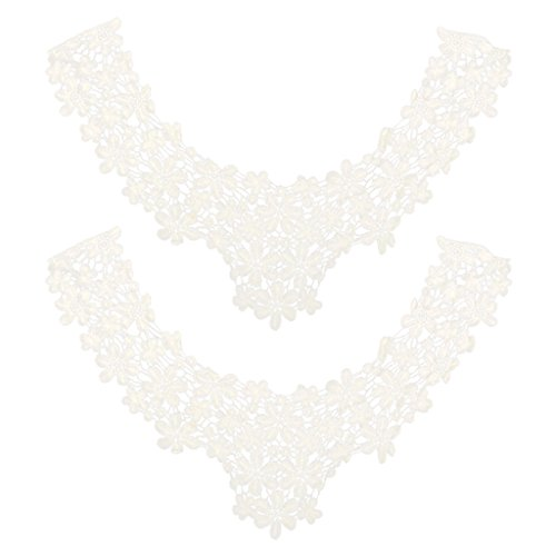 (MonkeyJack Vintage Faced lence Choker Peter Pan Crochet Collar Necklace,Beige,Cotton)