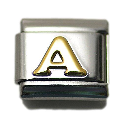 Letter A Italian Charm Bracelet Link Alphabet, 9mm Type Link Size