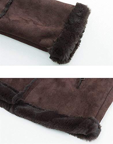 Morbidi Fashion Donna Giaccone Cucitura Outerwear Vintage Cappotto Marca Camoscio Manica Coffe Autunno Di Eleganti Con Mode Invernali Cerniera Accogliente Bolawoo Giubbino Velluto Lunga Colore Spesso Puro vdqYSww