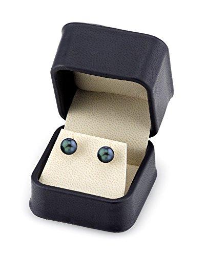 14K Gold Screwback 8.0-8.5mm Black Akoya Cultured Pearl Stud Earrings - AAA Quality by The Pearl Source (Image #2)