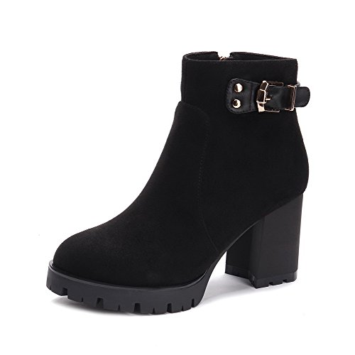 AllhqFashion Damen Hoher Absatz Rein Rund Zehe Blend-Materialien Reißverschluss Stiefel, Schwarz, 35