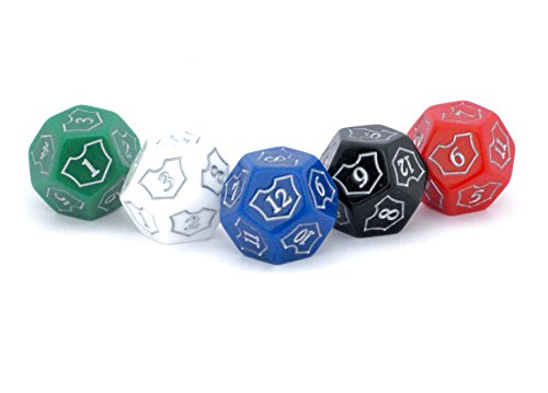 (Hedral MTG D12 Spin-Down Loyalty Counter Dice 5 Die Set Red White Black Green Blue - Magic: The Gathering TCG CCG Planeswalker Multi-Color)