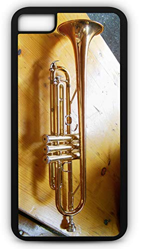 (iPhone 8 Plus 8+ Case Trumpet Brass Wind Instrument Customizable by TYD Designs in Black Plastic Black Rubber Tough)