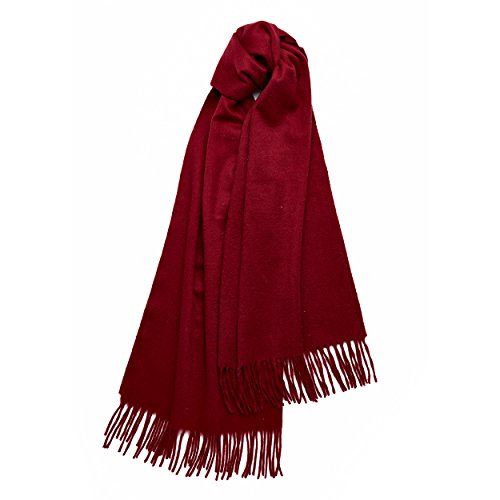 Large Winter Pure Cashmere Shawl 100% Cashmere - Soft and solid Wrap (Burgundy)