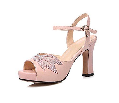 alto estilo Hebilla cuero de plataforma mujer Zapatos de Moda Verano Zapatos Zapatos tacón Nuevo Sandalias de SHINIK Rosado Impermeable de Cw6qORXnx
