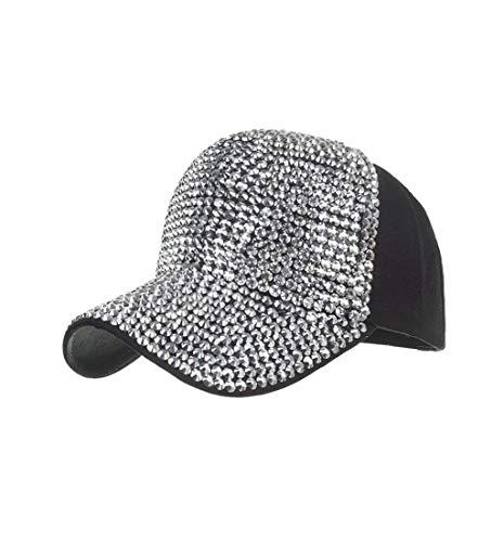 (Pausseo Women's Baseball Caps, Fashion Adjustable Cotton Cap Star Rhinestone Cap Sun Hat)