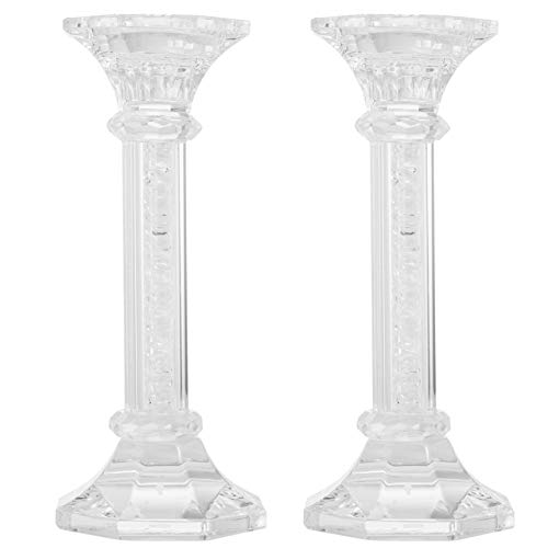 Matashi Premium Crystal Candlestick, Radiant Gems Inside Stem Gift for Thanksgiving, Christmas, New Year | Contemporary Elegance & Style | (Chic, ()