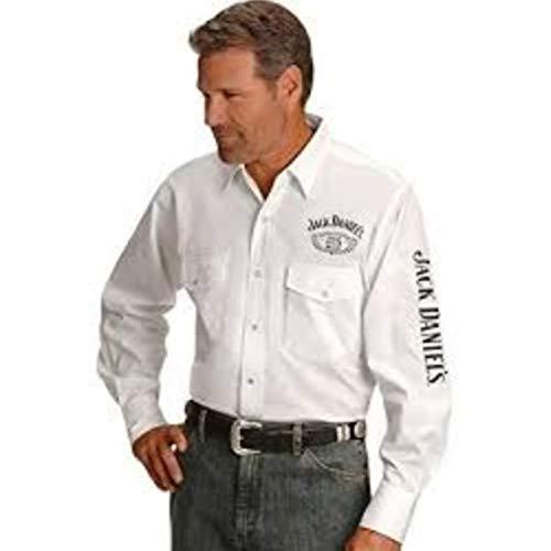 Jack Daniels Men's Daniel's Logo Rodeo Cowboy Shirt White -