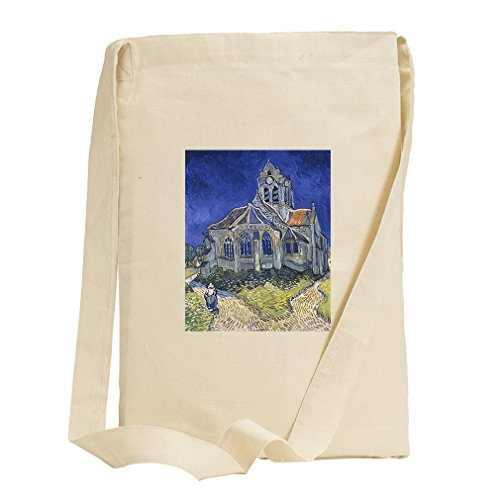 The Church In Auvers (Van Gogh) Canvas Sling Tote Bag by Style in Print
