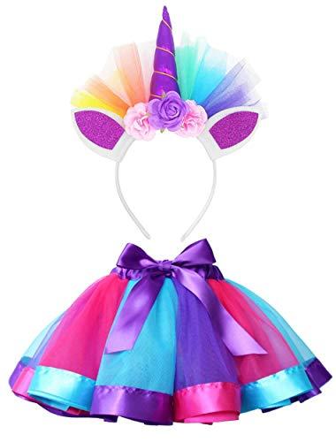 TRADERPLUS Girls Rainbow Tutu Skirt with Unicorn Horn Headband Outfits for Halloween Birthday (Royal Blue, Small / 1-3 Years) -