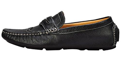Serene Mens Driving Moccasin Slip On Casual Boat Loafer(9 D(M)US, Black)