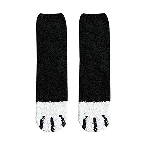 Glum Socks Winter Cat Claws Cute Thick Warm Sleep Floor Socks Plush Cozy Slipper Sock Female Cartoon Coral Tube Socks regular there