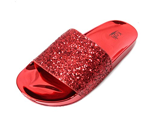 Rhinestone Sandal Footwear Sandals (Kali Footwear Women's Bling Sparkly Star Slides Sandals (11 B(M) US, Red))