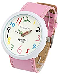 Womens Watch Pink Leather Band Large Face Fashion Watch Easy Read Reloj SW8329PKWH