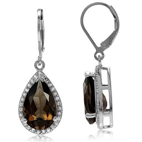 7.52ct. Natural Smoky Quartz & White Topaz Gold Plated 925 Sterling Silver Drop Leverback Earrings
