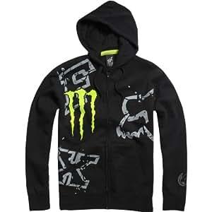 Fox Racing Monster Ricky Carmichael Replica Downfall Men's Hoody Zip Racewear Sweatshirt/Sweater - Black / Medium