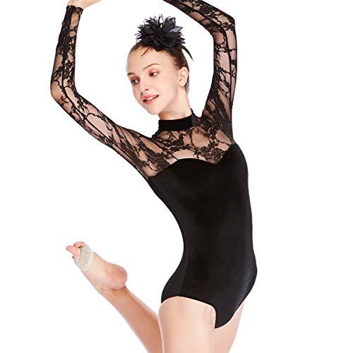 d771e25c0432 MiDee Dance Leotard Gymnastics Costume Lace Velvet Long Sleeves (XLA