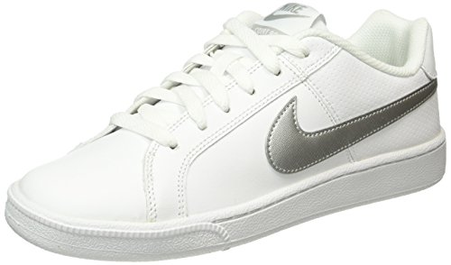 NIKE Womens WMNS Court Royale White Metallic Silver Size 7.5 Nike Women Casual Shoes