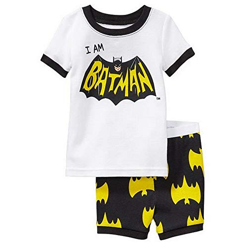 Fribro Little boy Summer Short Pajamas Kid Child Superhero Avenger Iron Man American Captain (Batman F, 4T) ()