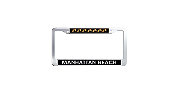 MANHATTAN BEACH Black Metal License Plate Frame Screw Caps