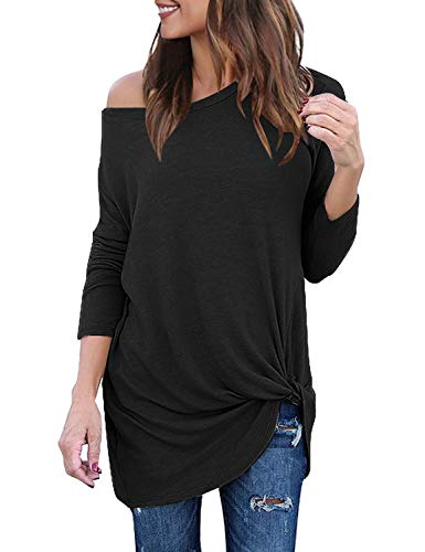 (Lookbook Store Women's Casual Soft Long Sleeves Loose Fit Knot Side Twist Knit Blouse Solid Black Top Shirts Size S 4 6)