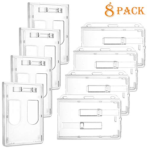 Whaline 8 Pack Double ID Card Slot Badge Holder Heavy Duty Transparent Polycarbonate Card Case, Vertical and Horizontal
