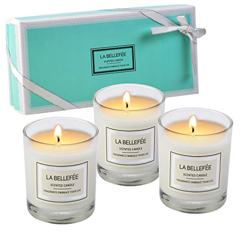 (LA BELLEFÉE Scented Candles Gift Set, Natural Aromatherapy Soy Wax, 100% Cotton Wick Votive Candle for Outdoor and Indoor, Fragrances of Rose, Vanilla, Jasmine - 3 Packs)