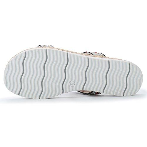 Alexis Leroy Strass Verzierte T-Spangen Plateau Damen Flache Sandalen Weiß