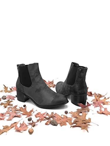 Stivaletti Vintage Tacco Scarponcini 5 Foderato Moda Stile Grigio A Pelliccia 5 Donna Scarpe Angkorly Boots Di Blocco Da Soletta Cm Chelsea Borchiati Lucide Alto 7Tq8Intx