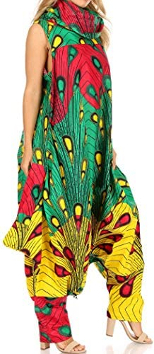 Sakkas Loa Womens African Ankara Print Maxi Harem Jumpsuit Dress Sleeveless