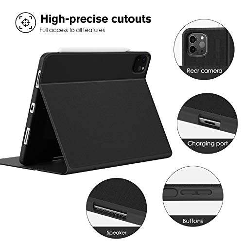 Ayotu Soft TPU Back Cover for iPad Pro 11 Case 2nd Generation 2020 & 2018 with Pencil Holder-Supports Apple Pencil 2 Wireless Charging,Book Cover Design,Multi-Angle Stand,Auto Sleep/Wake, Black