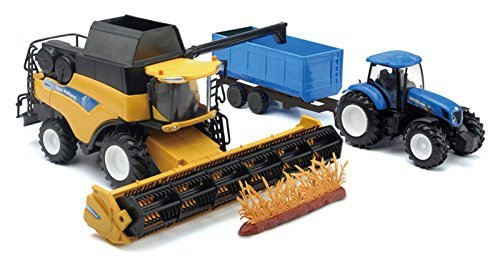1/32nd New Holland CR9090 Combine, Tractor and Grain Cart by New Ray by New Ray