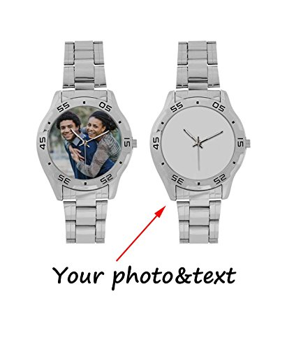 alized Custom Gift Men's Stainless Steel Analog Casual Wrist Watch with Your Photo or Text (Personalized Stainless Steel Watch)