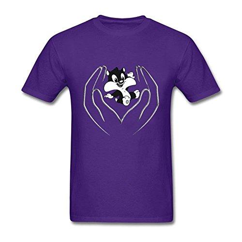 [Fashion Style Men Cartoon Looney Tunes 100% Cotton Short Sleeve T Shirt Purple XL DIY Costume] (Peter Pan Costumes Diy)