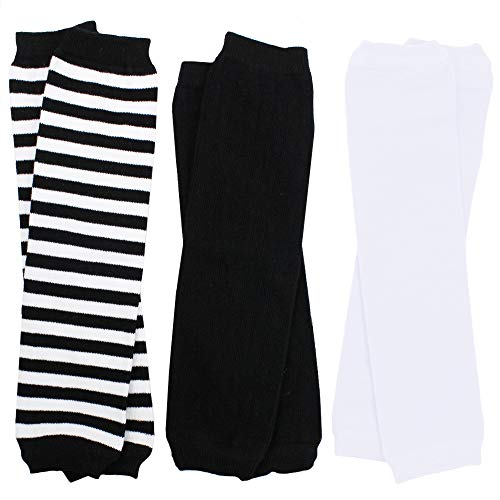 juDanzy 3 Pair Baby Boy And Girl Leg Warmers Black, black and White Stripes and Polka Dots (Newborn) ()