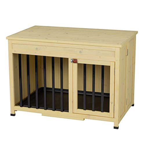 Good Life No Assembly Foldable Indoor Nature Wood Dog Crate Pet Cage Portable Cat/Dogs House Metal Railing with Tray (33' inch L)