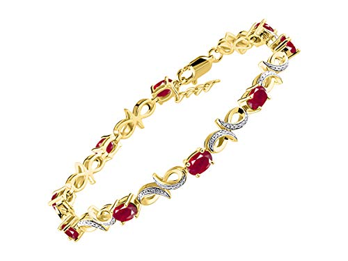 Stunning Ruby & Diamond Infinity Tennis Bracelet Set in Yellow Gold Plated Silver - Adjustable to fit 7
