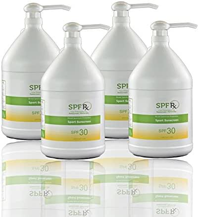 SPF 30 Sport Sunscreen Bulk - No 1. Sun Skin Care Product With Broad Spectrum UVA & UVB Protection For Face & Body - Protects From Skin Cancer, Aging & Sunburn - Non Greasy Residue (1 Gallon- 4 Pack)