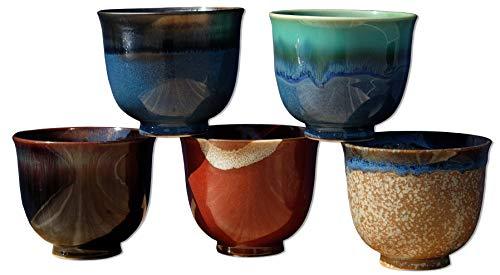 5 tazas de te japonesas de ceramica, multicolor