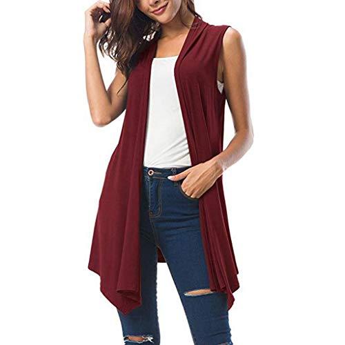 Sunhusing Women's Solid Color Sleeveless Draped Sexy Cardigan Tops Asymmetrical Irregular Hem Loose Vest Wine