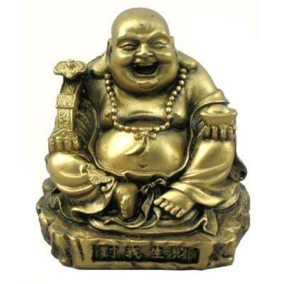 amazon com gold tone resin happy buddha statue home kitchen