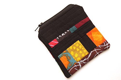 Abstract Patchwork Fabric Zipper Pouch or Coin Purse