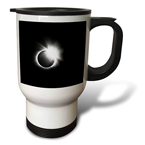 3dRose Stamp City - astronomy - Photograph of the 2017 Solar Eclipse. Capture of the diamond ring. - 14oz Stainless Steel Travel Mug (tm_290787_1)