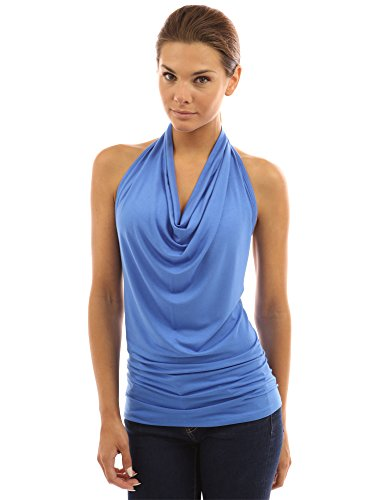 PattyBoutik Women's Halter Drape Cowl Neck Top (Blue XL)