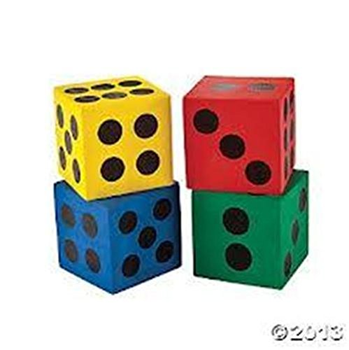 Foam Jumbo Playing Dice (12), assorted, 1-Pack of - Foam Dice Reading