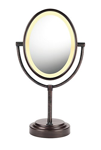 (Conair Double-Sided Lighted Makeup Mirror - Lighted Vanity Makeup Mirror; 1x/7x magnification; Oiled Bronze Finish )