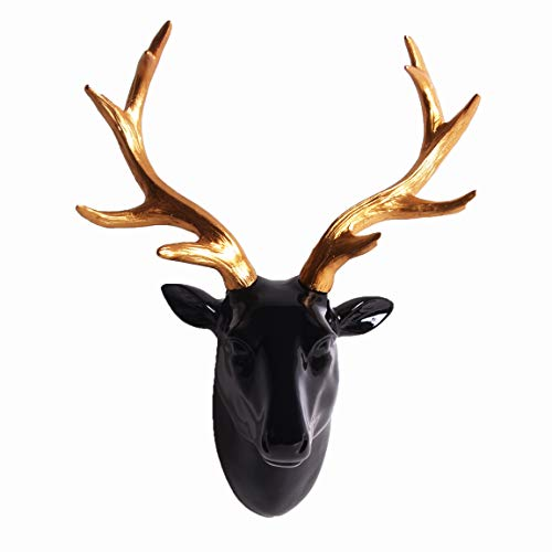 Smarten Arts Animal Head Wall Decor, Glossy Black Faux Resin Deer Head with Gold Antlers for Wall Mount Decoration, Size 10